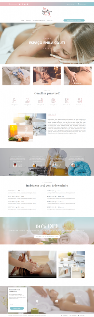 Template 3 criação de site para clínica estética, saúde e bem estar